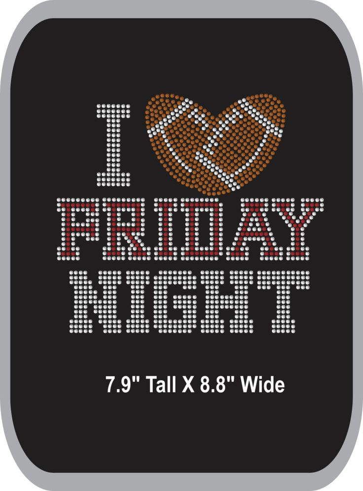 Rhinestone iron-on  - Football - Iron-on - Bling  Rhinestone T-shirt Transfer Appliqué  - DIY - I Heart Friday Night - pinned by pin4etsy.com