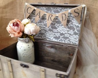 Rustic Wedding Card Box with Burlap Cards Banner/Guest Table Decor with Ivory Mason Jar Vases and Burlap Wrapped Pens