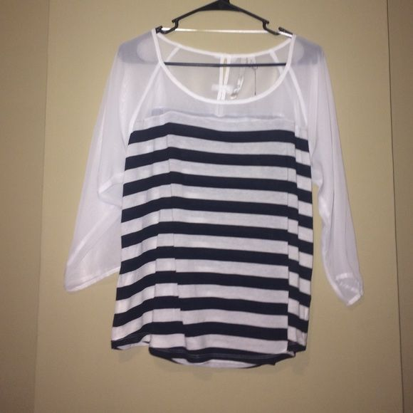 Lauren Conrad black and white shirt nwt Black and white striped shirt bows on back. New with tags from kohls Lauren conrad Tops