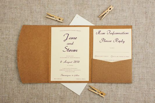 Lace pocketfold wedding invitation rustic pocketfold in cream and purple - see more pics at http://bemyguest.co.nz/archives/item/rustic-cream-lace-pocketfold-wedding-invitation/