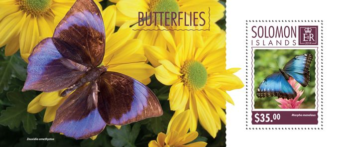 Post stamp Solomon Islands SLM 14602 bButterflies (Morpho menelaus)