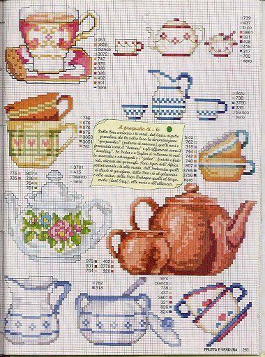 Cross stitch pattern, teapot.