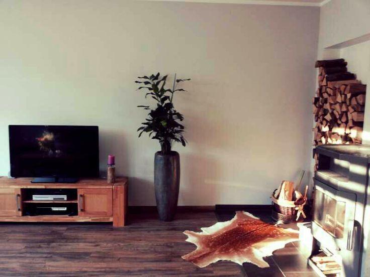 Wohnzimmer Kamin Dammwild Grau Holzwand