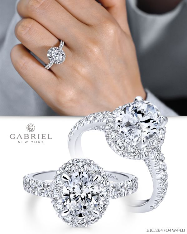 0a509dec0970e Hand picked diamonds create a stunning halo around your oval center ...