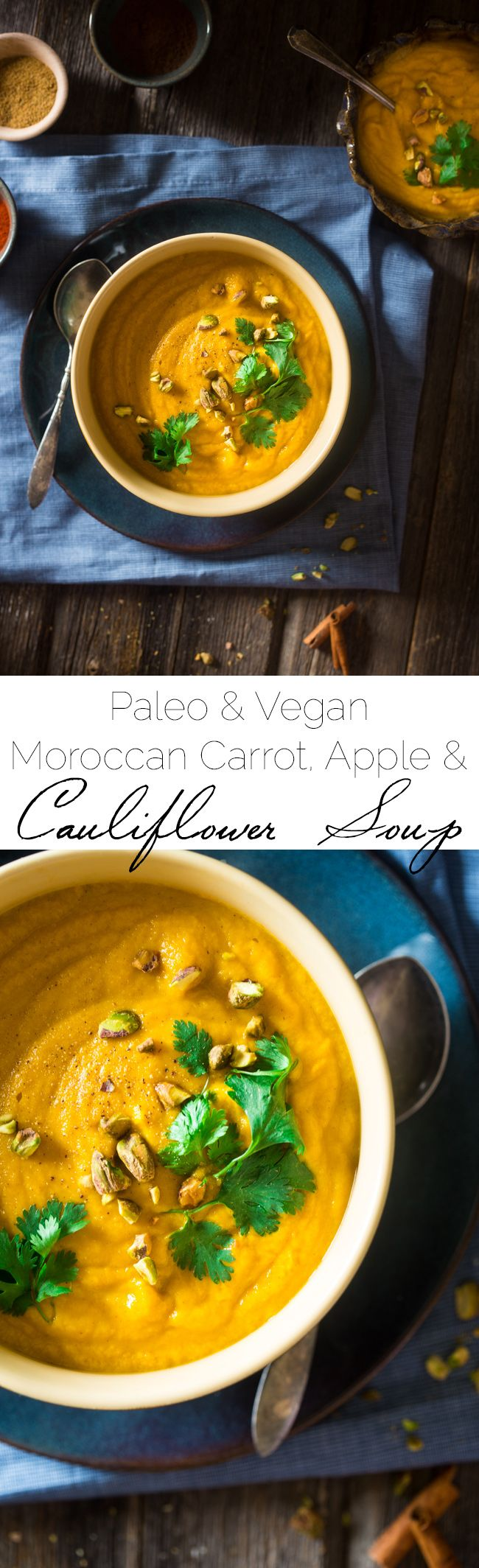 Vegan + Paleo Moroccan Apple, Carrot and Pistachio Cauliflower Soup - This easy, healthy soup is blended with spicy Moroccan flavors, carrots, apples and pistachio cream for an easy, vegan and paleo-friendly fall meal! | Foodfaithfitness.com | @FoodFaithFit