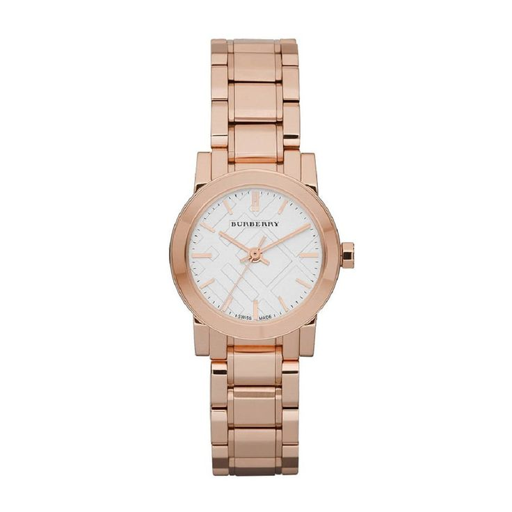Rose gold women's #Burberry watch adds a splash of color to a classic outfit. | @burberry on #Outlet77 #fashion
