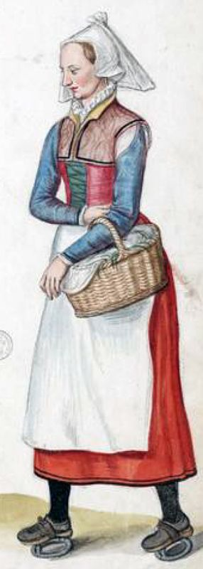 French countrywoman by Lucas de Heere, late 16th c. showing an early example of iron ring pattens. Don't care about the pattens - general style, yes.  Ruff, partlet, pinned on sleeves, apron, different colors in gown and sleeves, shoes, stockings, skirt length, cap, veil, stomacher ?