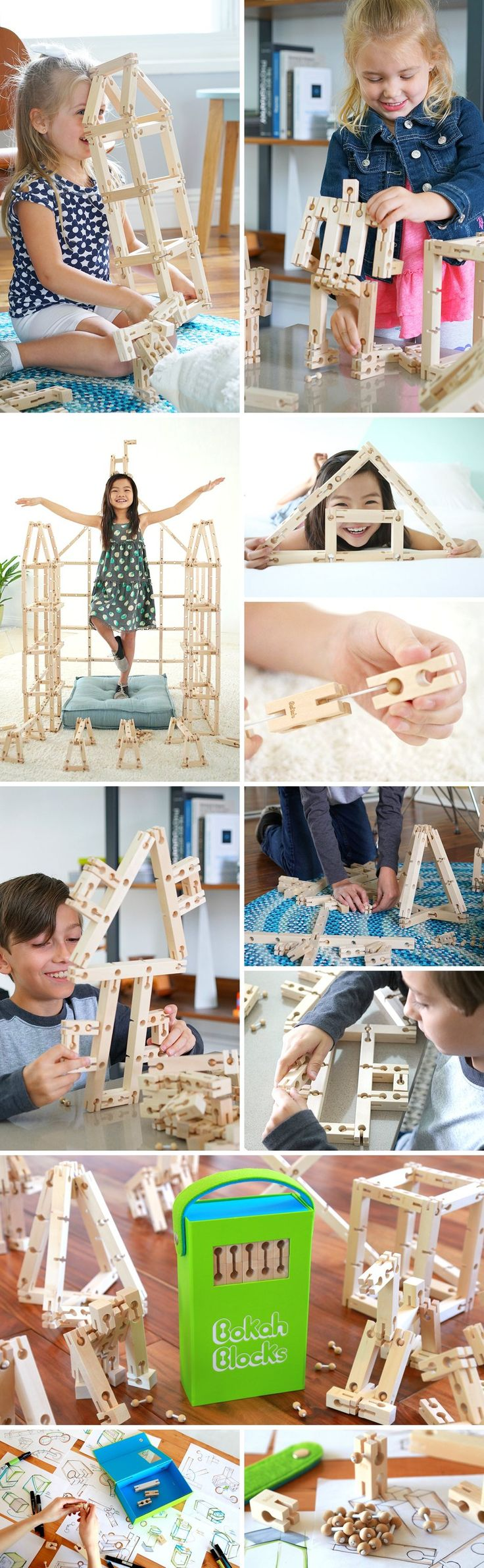 The next generation wooden toy is here! Think of it as 3D tools to let a child's imagination run wild. Designed to be like Jenga meets Lego meets Meccano, the Bokah Blocks is as free spirited as the child itself, allowing kids to build whatever their hearts desire, while even allowing their creations to be robust yet flexible! Shop Now.