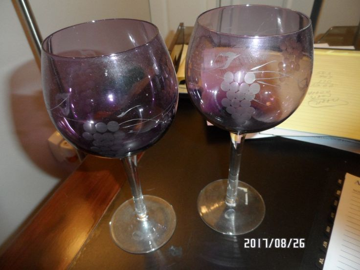 Pair Of Purple Wine Glasses.