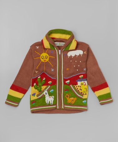 This Bouncy Brown & Red Zip-Up Hoodie - Boys is perfect! #zulilyfinds