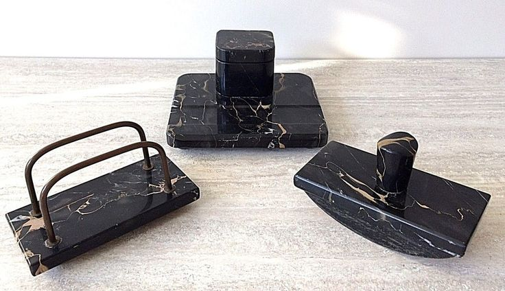 Art Deco Three Piece Desk Set - Italian Gold Vein Nero Portoro Marble
