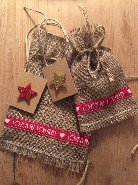 Fill with cedar for favor: Rustic Natural Hessian Burlap Small Gift Bag, Handmade, Drawstring Gift Bag, Fabric, Jute, Decoration, Valentine Gift, Red White Gold, Love,