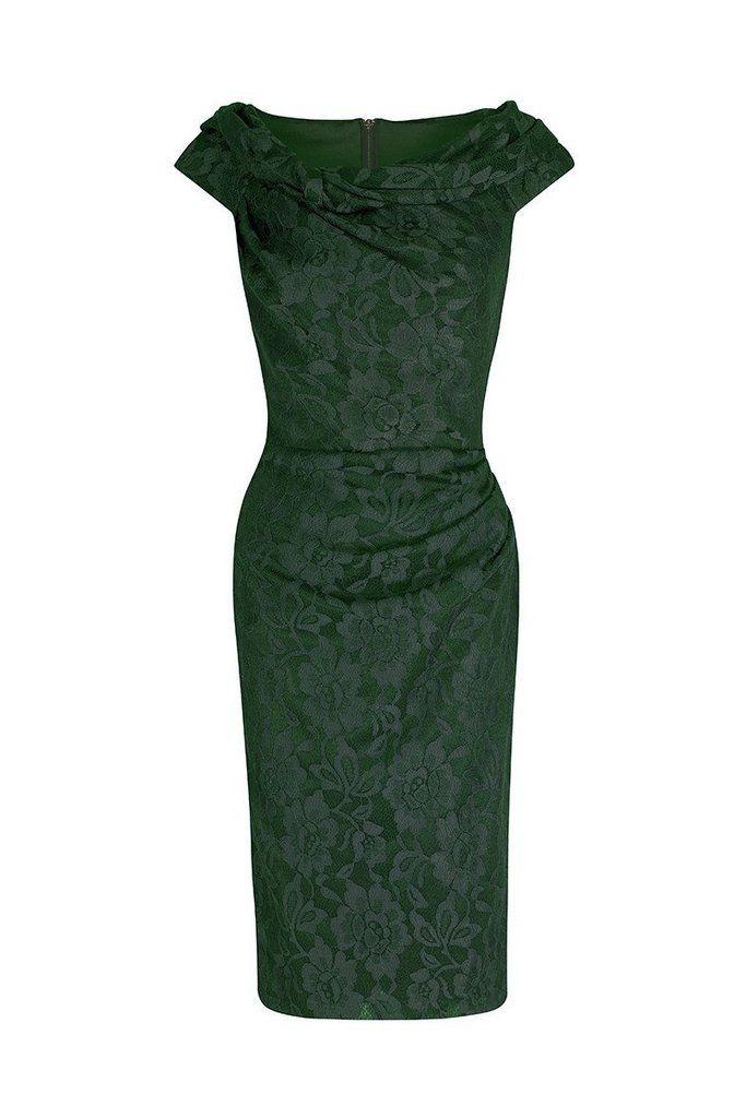 Emerald Green Lace Bardot Wiggle Pencil Dress