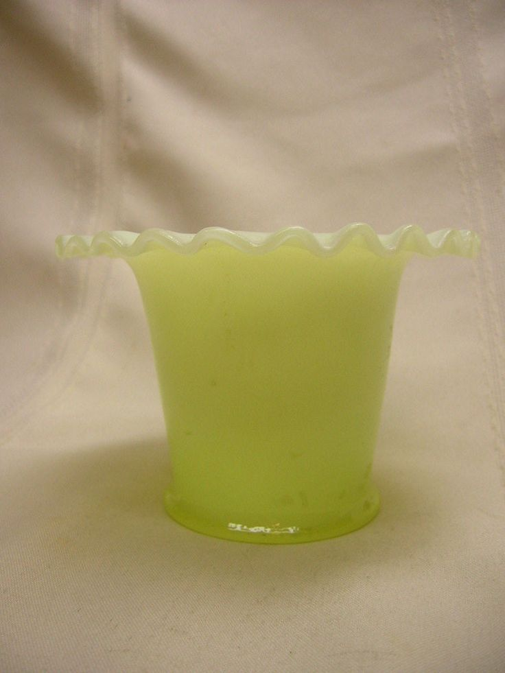 "Vintage Vase Custard Glass 3 1/4"" Tall Ruffle Top Leaf Design"