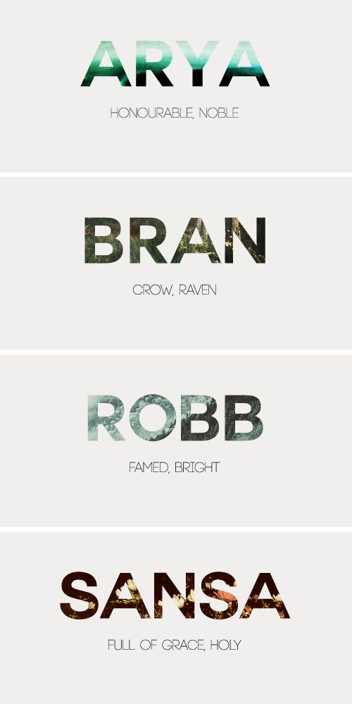 Stark Children + Name Meaning #got #asoiaf
