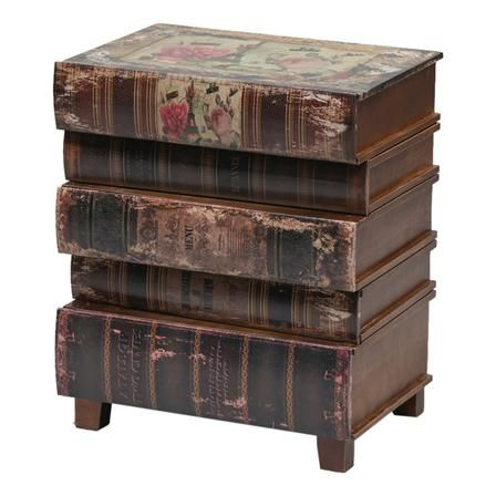 Antique Stacked Books Side Cabinet