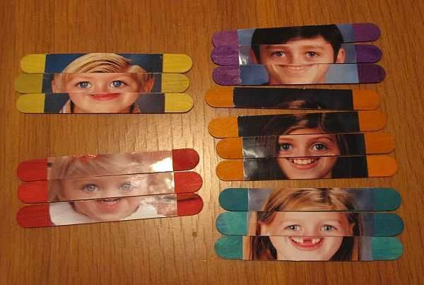 Popsicle stick face puzzles!
