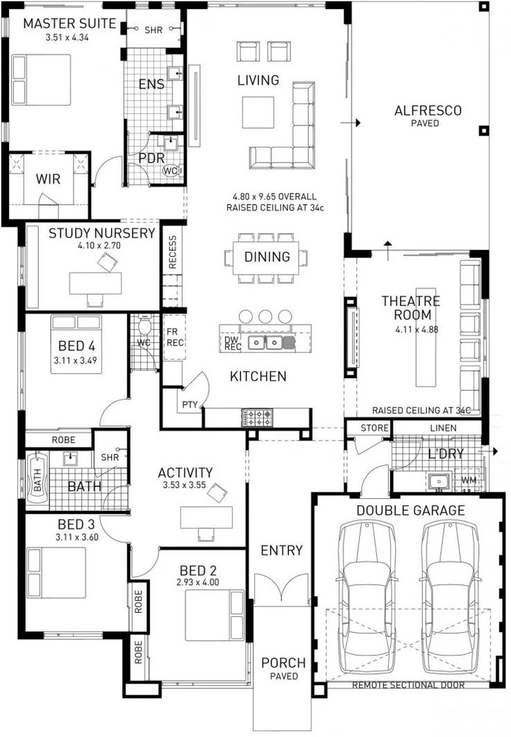 the catherine bay four bed single storey home design plunkett homes - 2 Storey House Plans