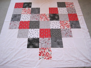 heart shaped Twister quilt began this way
