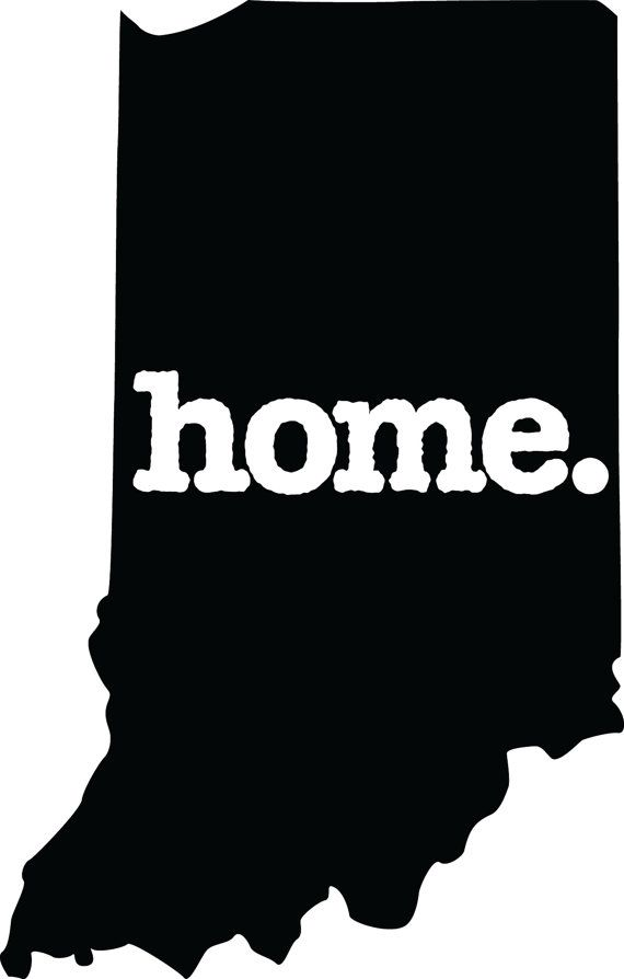 Indiana Home Decal Car Or Laptop Sticker Black And