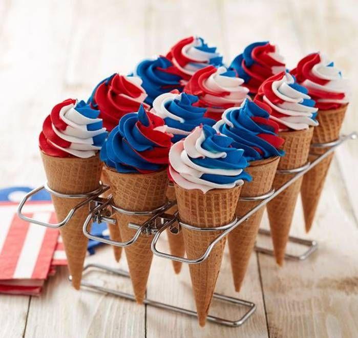 Cornet de glace tricolore - Des desserts made in USA pour fêter l'Independence Day - Elle à Table