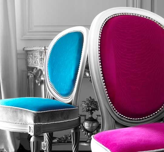 """Gilles Nouailhac """"Palissy"""" chairs with ombré lacquer and Houlès trimmings"""