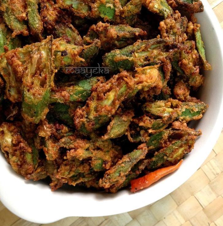 Bhindi Kurkuri (Crispy Okra) Deep fried okra, smeared with gram flour and spices