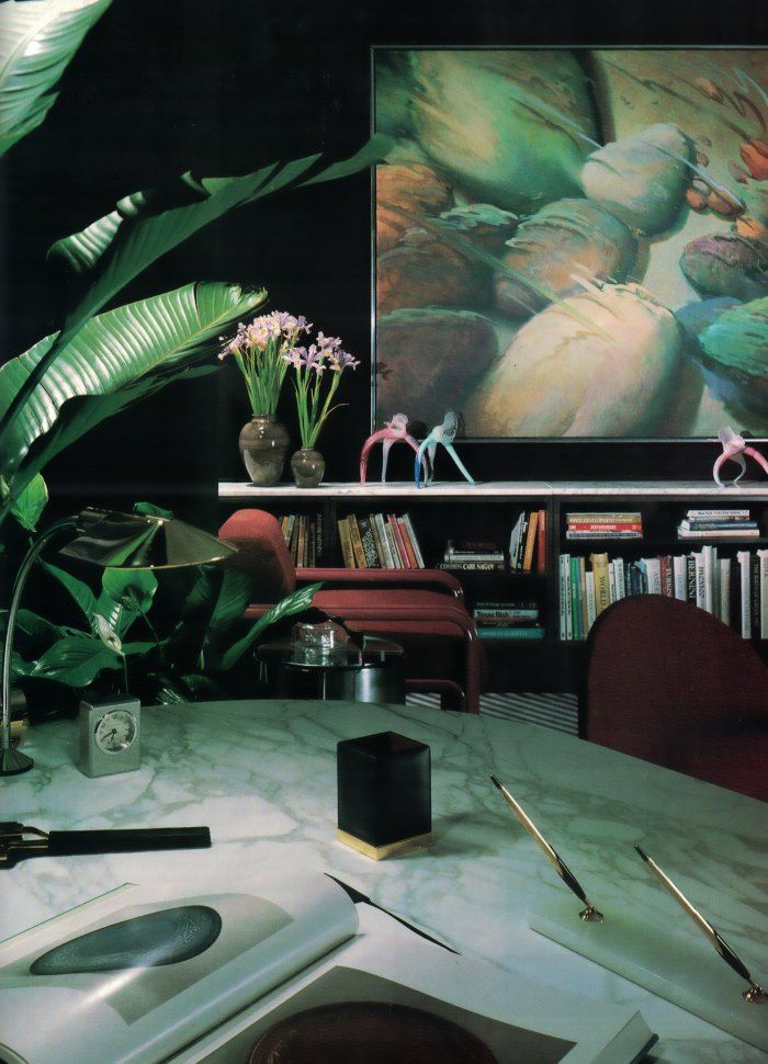 '80s modern office with sculptural objects