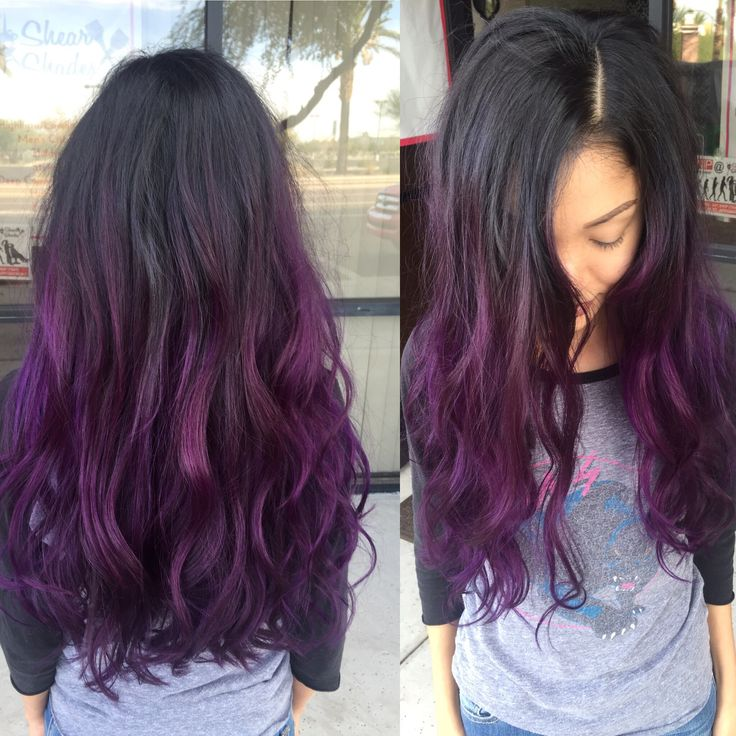 Purple Balayage Hairstyle On Long Hair Vivid Hair Color