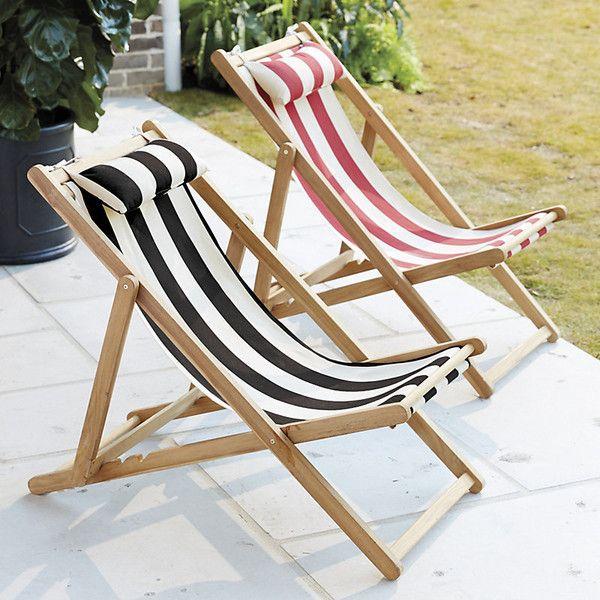 Ballard Designs Classic Beach Folding Chair Canopy Stripe Black/Sand ($249)  ❤ Liked