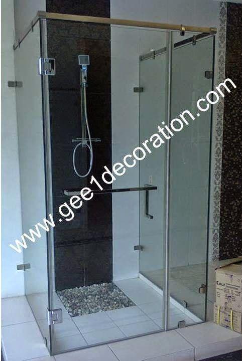 aluminium, kusen, kaca, partisi,  pintu, jendela, lipat, geser, swing, jungkit, pivot, sliding, : shower corner screen