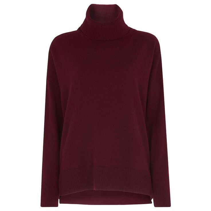 BuyWhistles Cashmere Rib Back Roll Neck Jumper, Red, XS Online at johnlewis.com