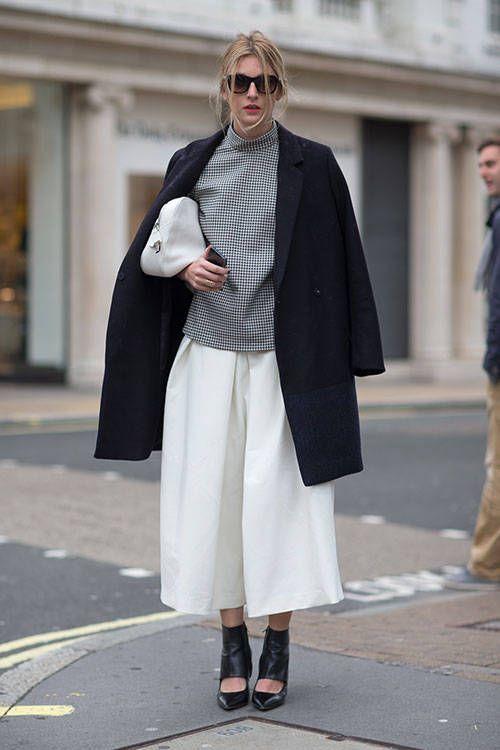 White Bottom, Gray Turtleneck & Black Coat