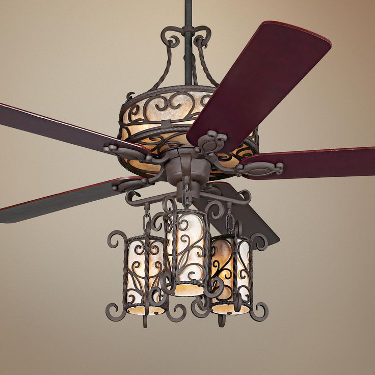 "Unique Ceiling Fans With Chandeliers: 60"" John Timberland Seville Iron Ceiling Fan With Remote"