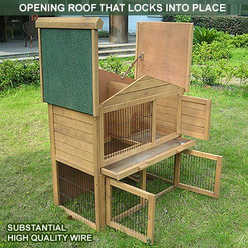 2 Tier Rabbit Hutch Run Guinea Pig House Cage Outdoor