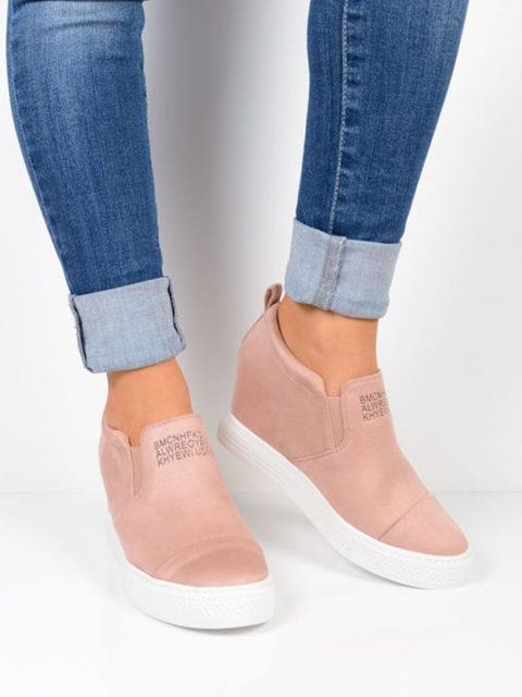 77ea4a6c46d Shop Sneakers - Women Faux Suede Letter Wedge Heel Sneakers online.  Discover unique fashion at Modmiss.com.