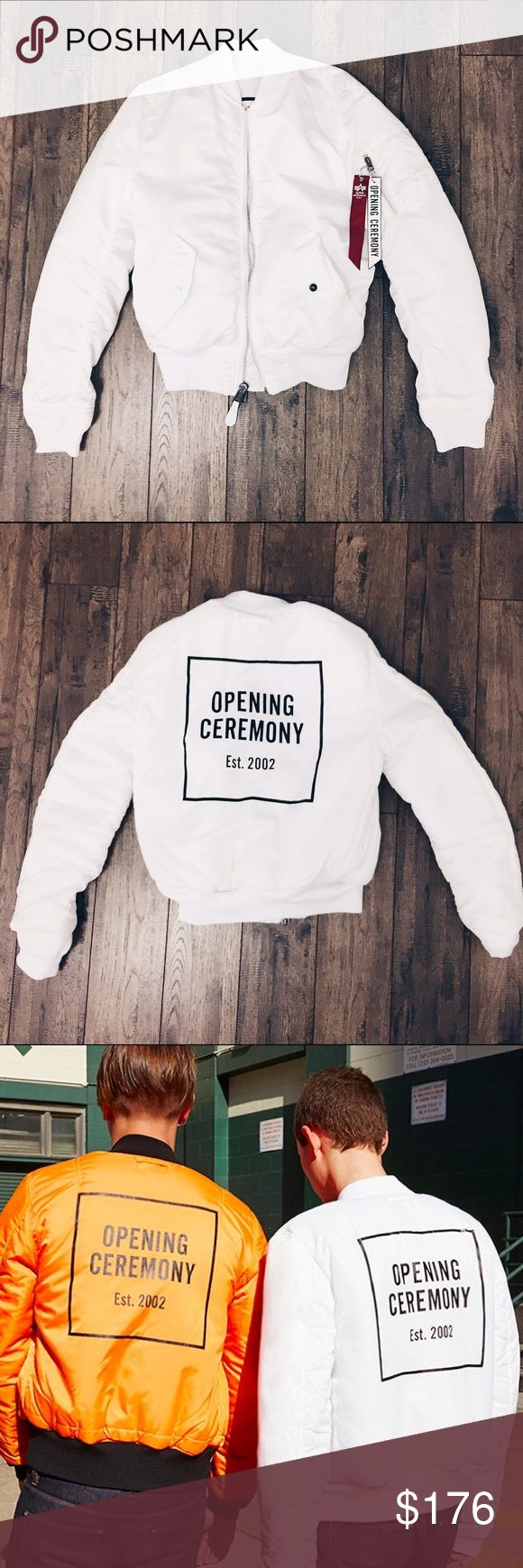 Alpha Industries & Opening Ceremony Bomber Jacket NWOT Alpha Industries for Opening Ceremony Reversible MA-1 Jacket in white. Never worn. Condition: 10/10. Originally $185. SELLING FOR WAY CHEAPER ON DEPOP!! CARRIEMYDO Opening Ceremony Jackets & Coats Bomber & Varsity