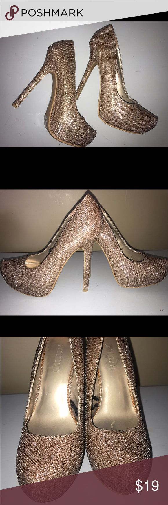 Sparkly champagne colored heels Only worn once! Such cute tall heels Shoes Heels