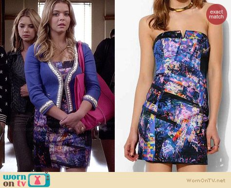 Ali's abstract patterned dress on Pretty Little Liars.  Outfit Details: http://wornontv.net/34577/ #PLL