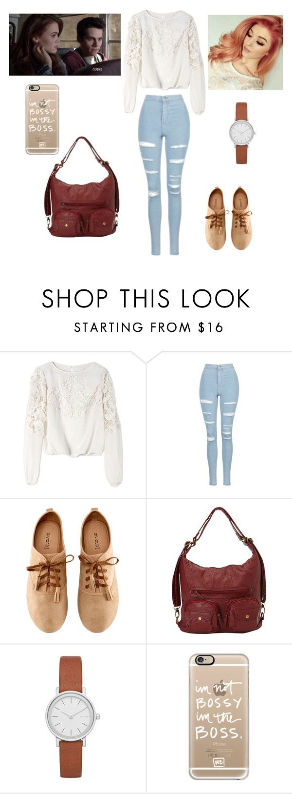 """""""Lydia's lil sister"""" by martinez-shell ❤ liked on Polyvore featuring beauty, Episode, Alice + Olivia, Topshop, H&M, Skagen and Casetify"""