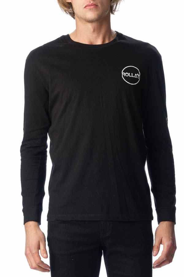 ROLLAS - Stripe Circle Logo Long Sleeve Tee Black