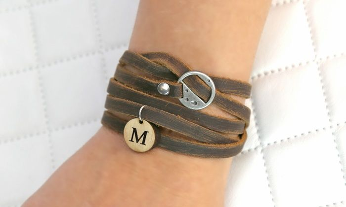 Monogram Online: Custom Leather Wrap Bracelet with Wooden Initial from Monogram Online