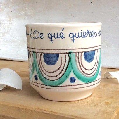 Taza Artesana de cerámica. ¿De qué quieres sembrar tu vida?. 18,50€