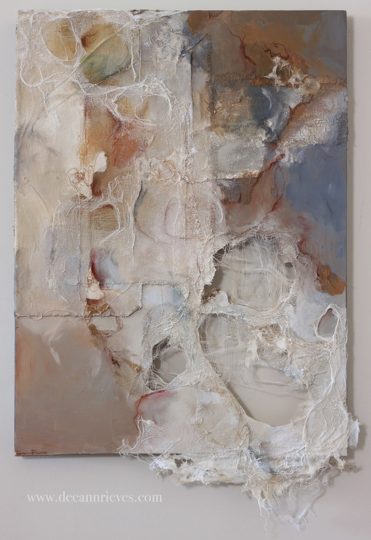 Mending the Grey ; machine embroidery, canvas, fabric, gauze and mixed media on cut wood panel.
