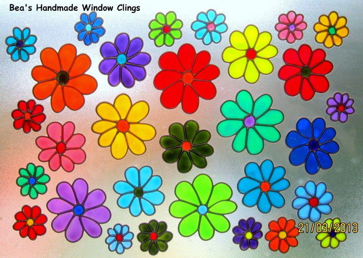 beau0027s funky daisies stained glass effect window cling - Window Clings