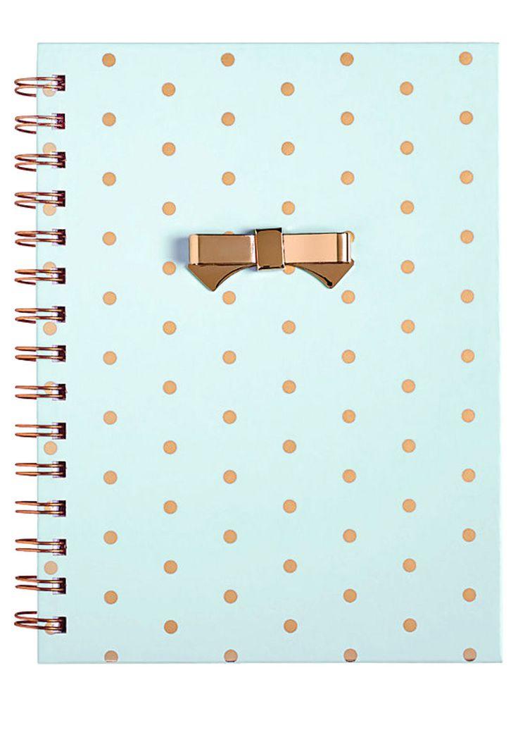 FOR SALE | MINT & GOLD Diary Journal Notebook Gold Polka Dots Spiral Bound Metal Bow School Supplies Desk Office Mint Blue Mint Green Seafoam Green Cute