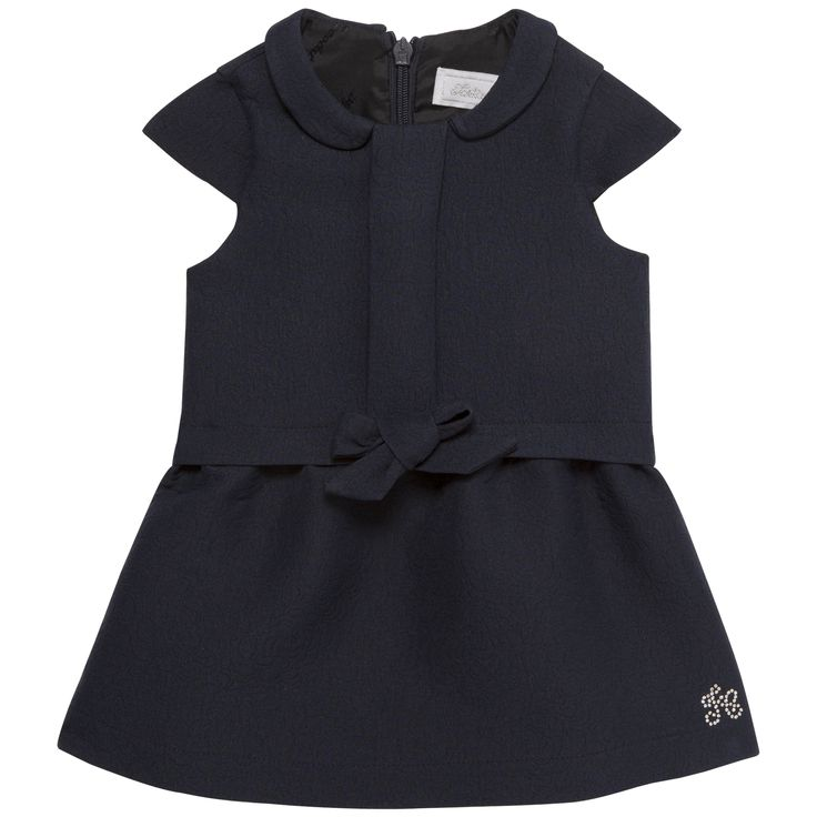 Short sleeves Navy blue dress with embossed floral motif  #outfit #FW15 #fall #winter #kidsfashion #blue #dress