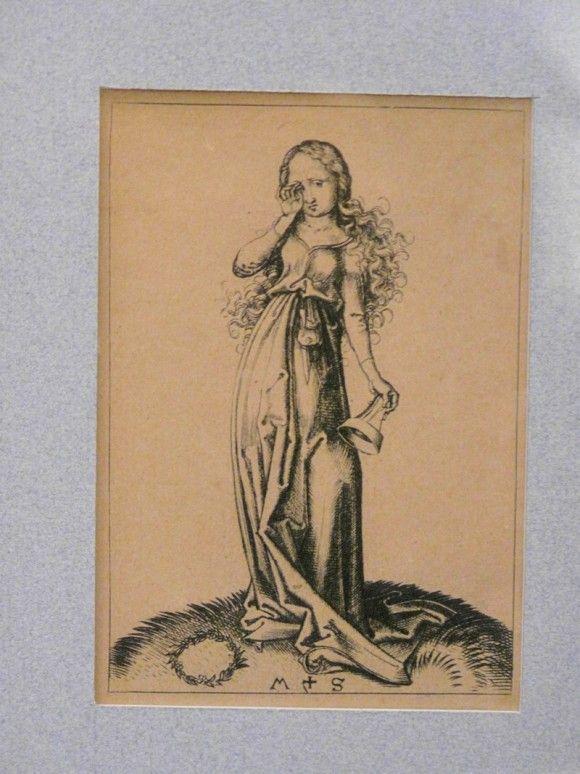 Engraving on copper of a Foolish Virgin - Мартин Шонгауэр. 1480 г.