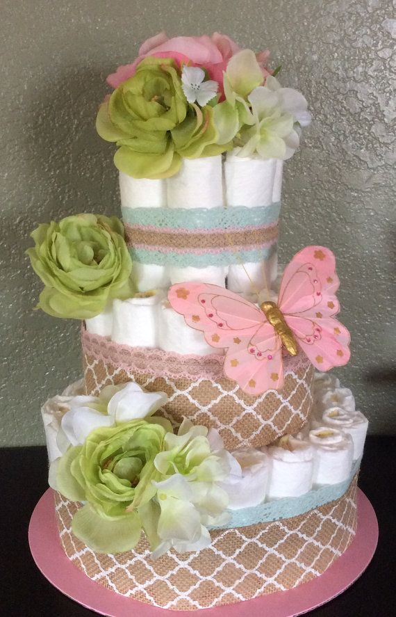 Vintage Shabby Chic 3 Tier Diaper Cake For by BushelAndAPeckGifts