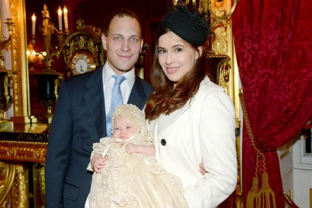 Lord Frederick Windsor with his wife Lady Sophie, and daughter Maud on the day of her christening.